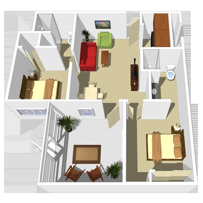 Senior Living Two Bedroom Apartment Unit